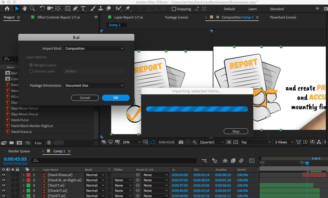 importing Illustrator files in After Effects project
